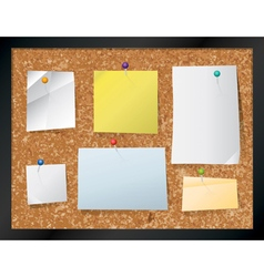 Corkboard Bulletin Board and Pinned Notes vector image