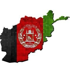 Afghanistan map with flag inside vector