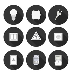 Flat icons electrician vector