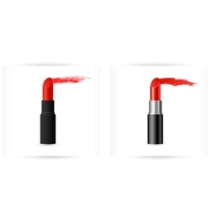 red lipstick with trace vector image
