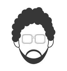 Man with curly hair and beard icon vector
