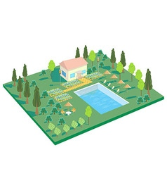 House in nature with pool trees recreation area vector