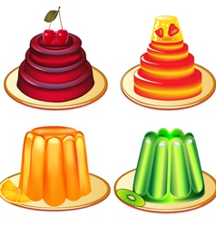 a set of desserts of jelly on plates vector image