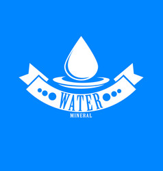 Blue logo label for mineral water aqua icon vector