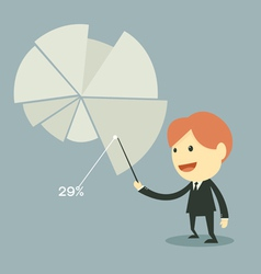businessman points to chart of profit vector image vector image