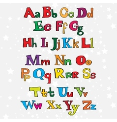 Christmas cartoon alphabet vector image