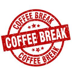 Coffee break round red grunge stamp vector