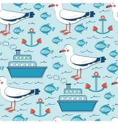 Colorful seamless sea pattern with seagulls vector image vector image