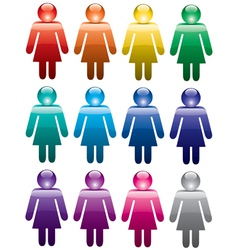 colorful woman symbols vector image vector image
