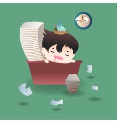 Cute cartoon or mascot businessman feels tired and vector