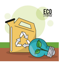 Eco lifestyle gallon gas green bulb plant image vector