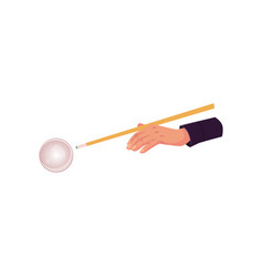 Flat hand in billiard glove with cue stick vector