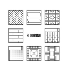 Flooring Flat icons of laminate parquet carpets vector image vector image