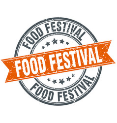 Food festival round grunge ribbon stamp vector