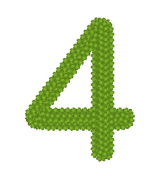 Four leaf clover of alphabet numbers 4 vector