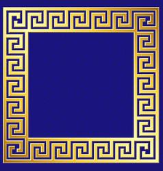 Golden square frame with greek meander pattern vector