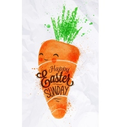 Happy easter carrot poster vector image vector image