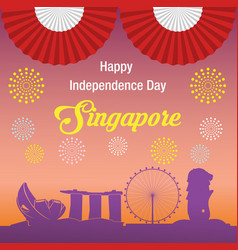 happy independence day singapore banner vector image vector image
