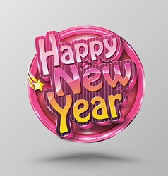 Happy new year lettering circle modern calligraphy vector