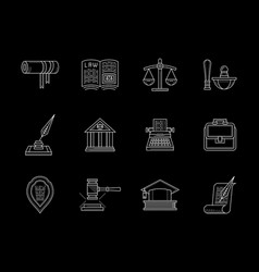 juridical and legal flat line icons set vector image