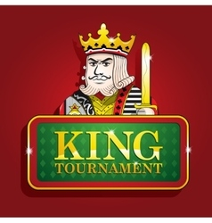 King of clubs casino poker banner sign tournament vector image