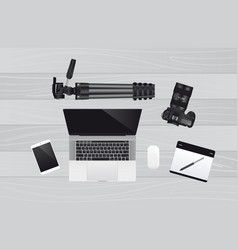 Laptop with mouse graphic tablet camera vector