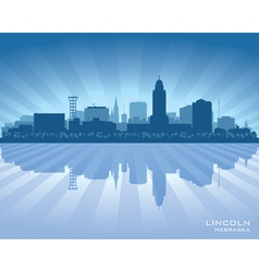 Lincoln Nebraska city skyline silhouette vector image