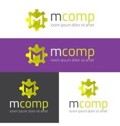 m letter modern polygonal logo vector image vector image