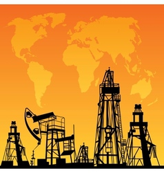 Map and oil rig vector image vector image