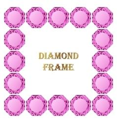 Pink diamond square frame vector
