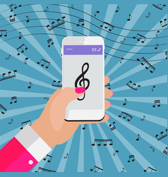 playing music on your smartphone online from vector image