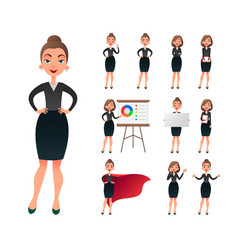 Pretty businesswoman working character set vector