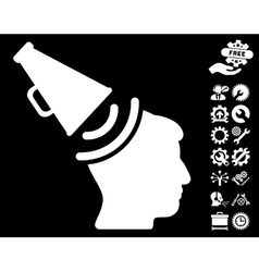 Propaganda megaphone icon with tools bonus vector