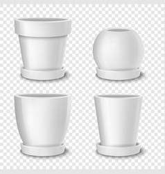 Realistic white empty flower pot with plate vector