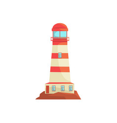 Red and white lighthouse searchlight tower for vector