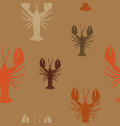 Seamless pattern with lobster vector