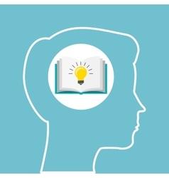 Silhouette head boy book idea education online vector