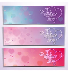 Three valentine banners purple pink vector