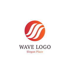 wavy wave in round shape red and blue feather vector image