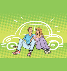Young people man and woman dream about the car vector