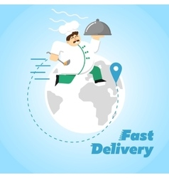 Fast delivery banner chef in uniform with cloche vector