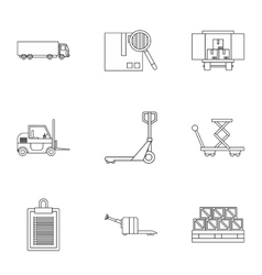 Cargo packing icons set outline style vector