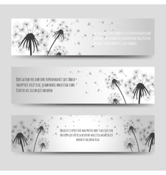 Dandelions and seeds horizontal banners set vector image