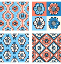 set of seamless floral patterns vector image