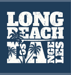 Long beach tee print with surfboard and palms vector
