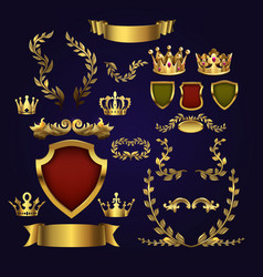 Golden heraldic elements kings crowns vector