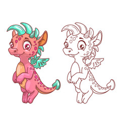 cute cartoon little dragon vector image