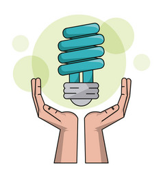 ecology hand with bulb light halogen clean energy vector image