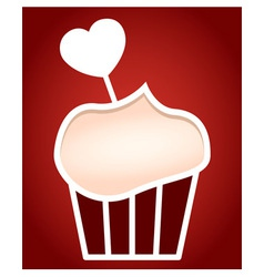 Paper cut frame stylized as cupcake vector