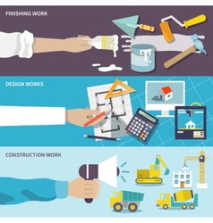 Construction design flat banner set vector